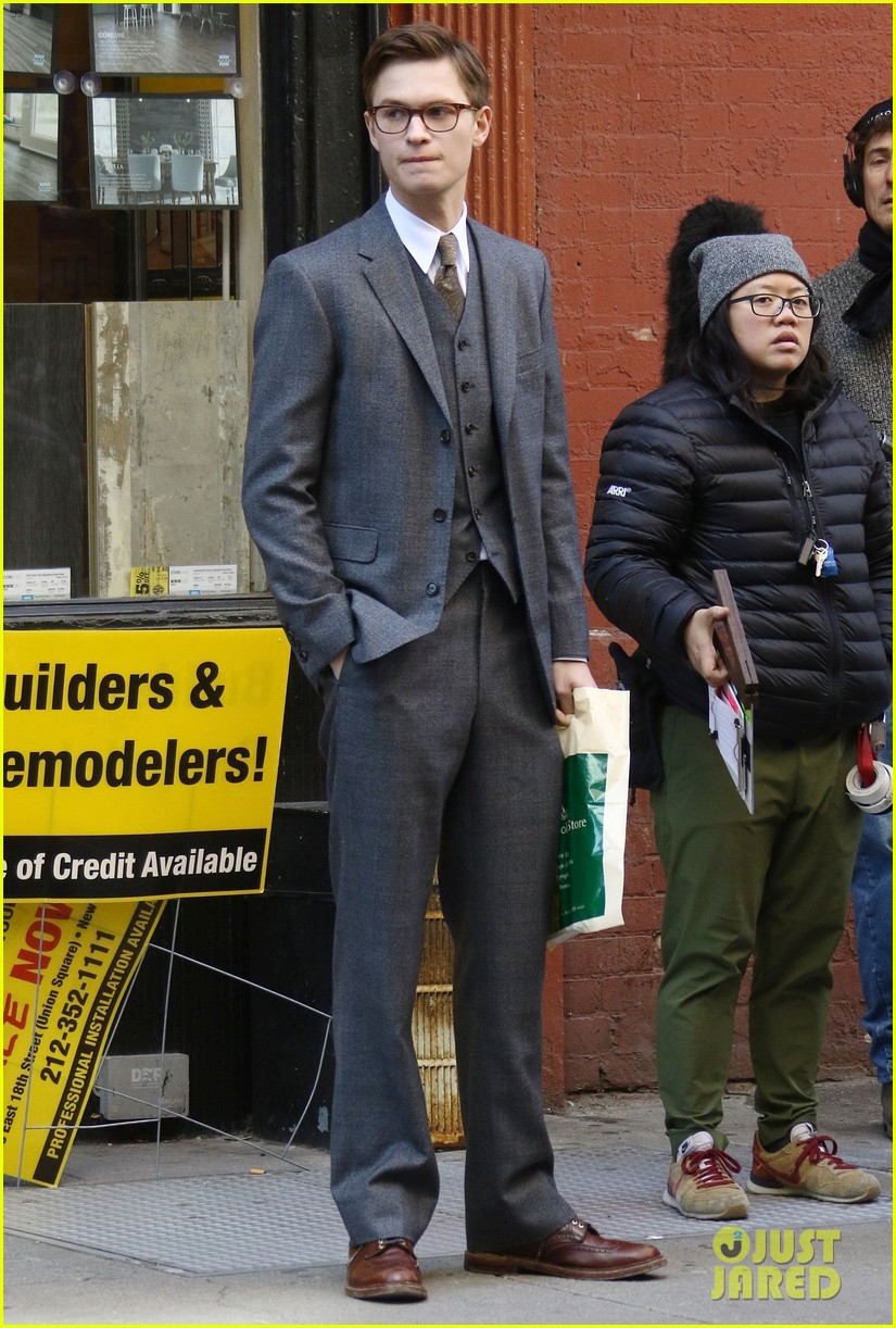 ansel elgort suits up on set of the goldfinch in nyc 05