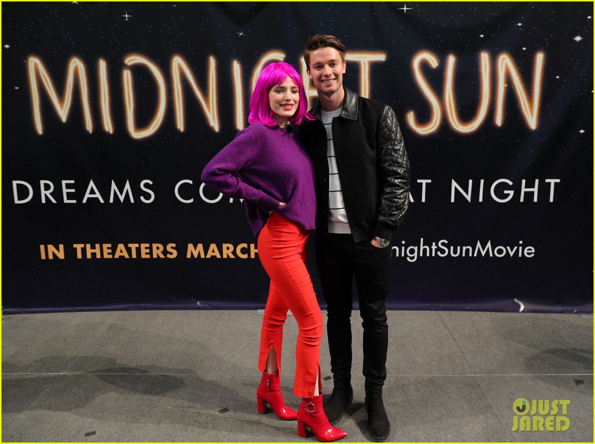 bella thorne wears pink wig to midnight sun promo event 03