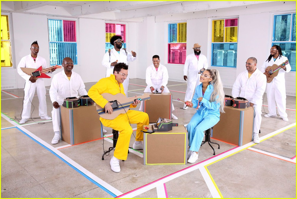 ariana grande and jimmy fallon perform no tears left to cry with cardboard instruments 01