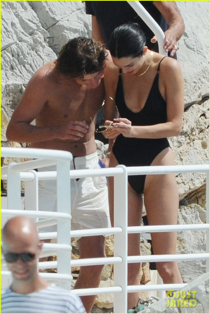 kendall jenner rocks black thong swimsuit while poolside in cannes 27