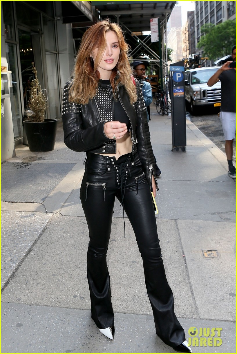 bella thorne rocks black leather look while leaving recording studio in nyc 02