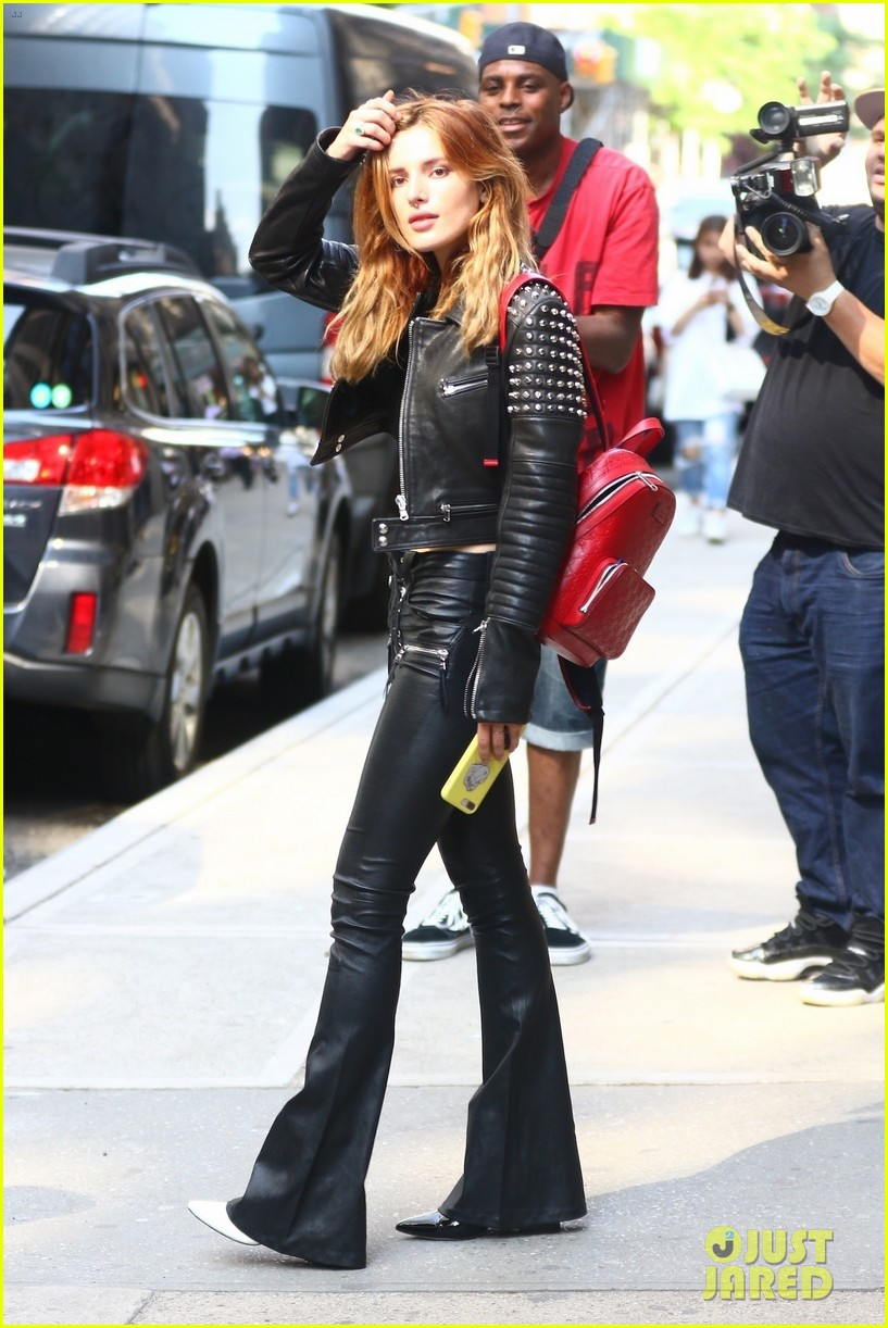 bella thorne rocks black leather look while leaving recording studio in nyc 04