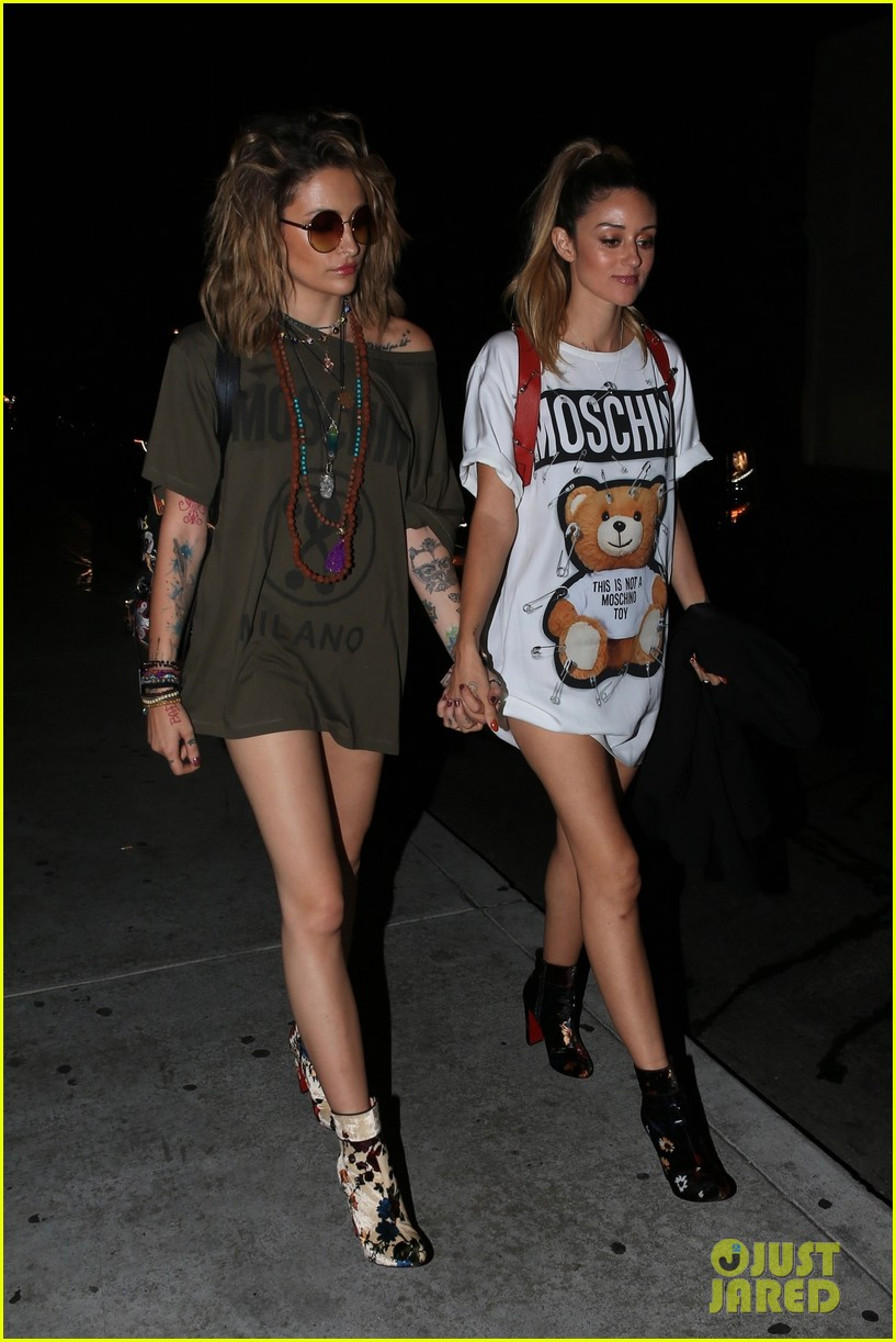 paris jackson and caroline damore walk hand in hand at moschino after party 01