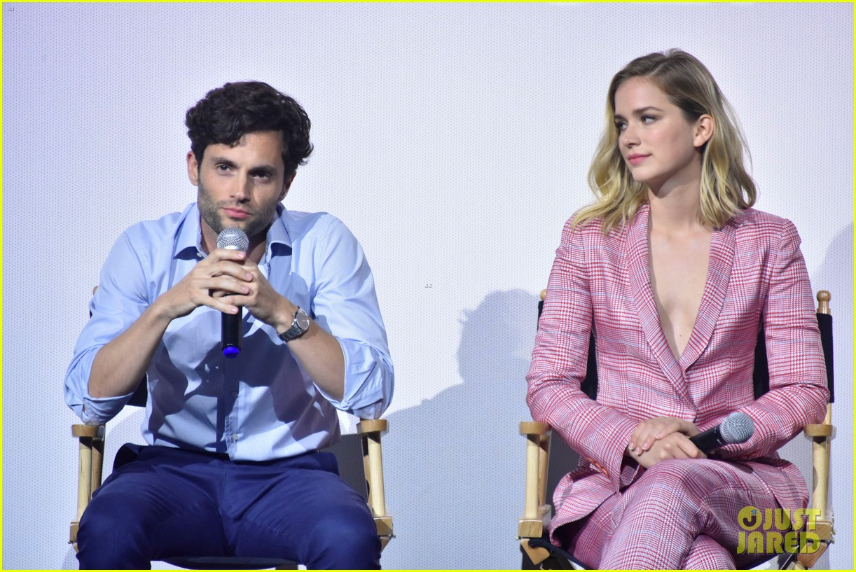 penn badgley elizabeth lail and shay mitchell look stylish at you series premiere 12