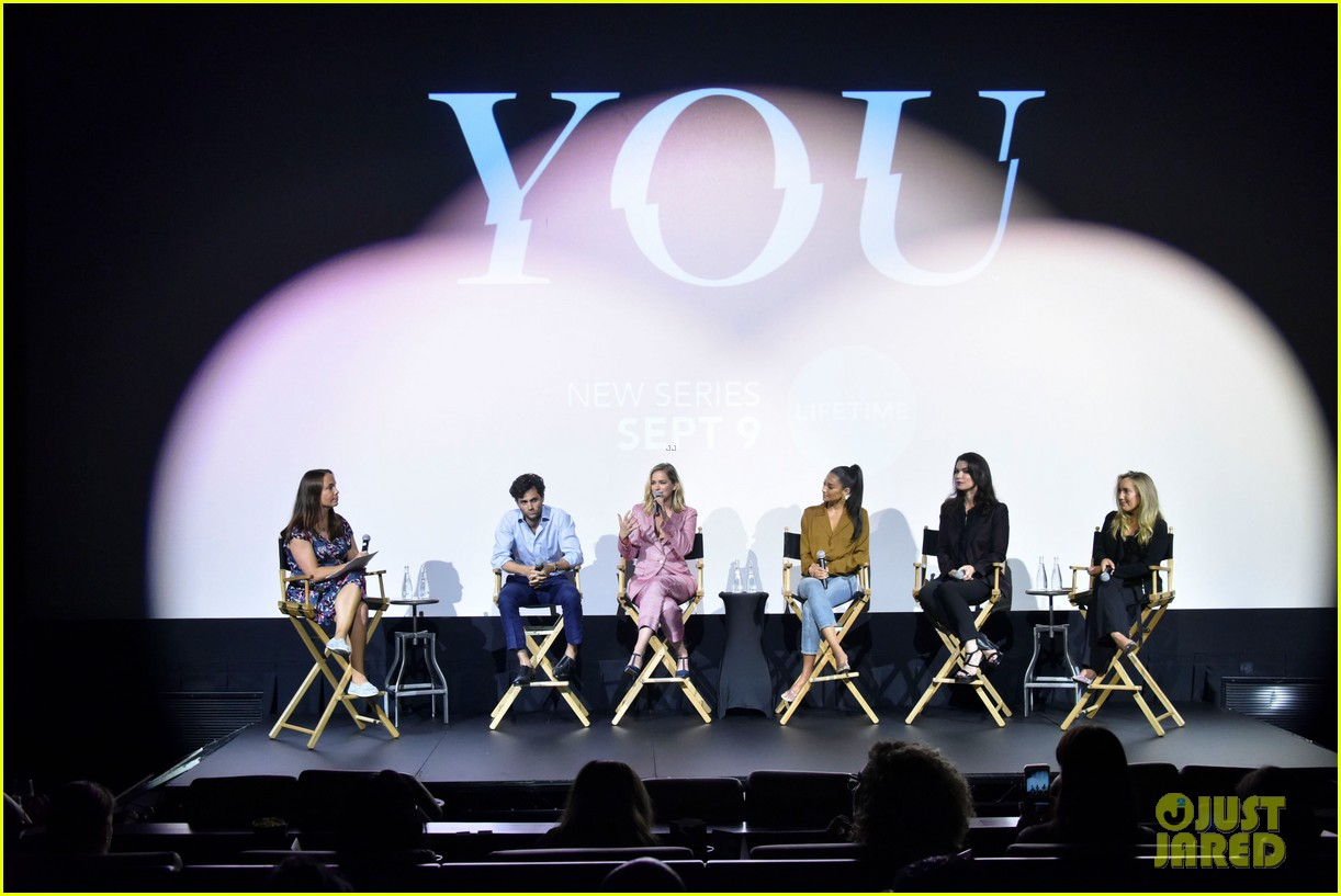 penn badgley elizabeth lail and shay mitchell look stylish at you series premiere 17