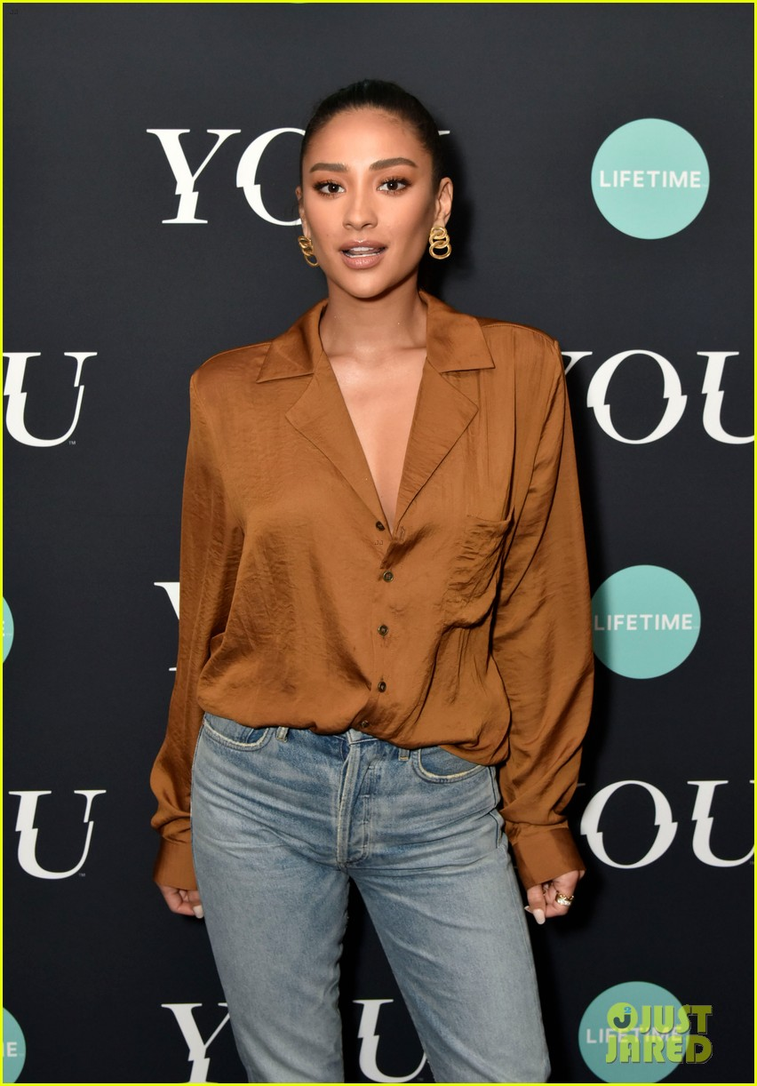 penn badgley elizabeth lail and shay mitchell look stylish at you series premiere 24