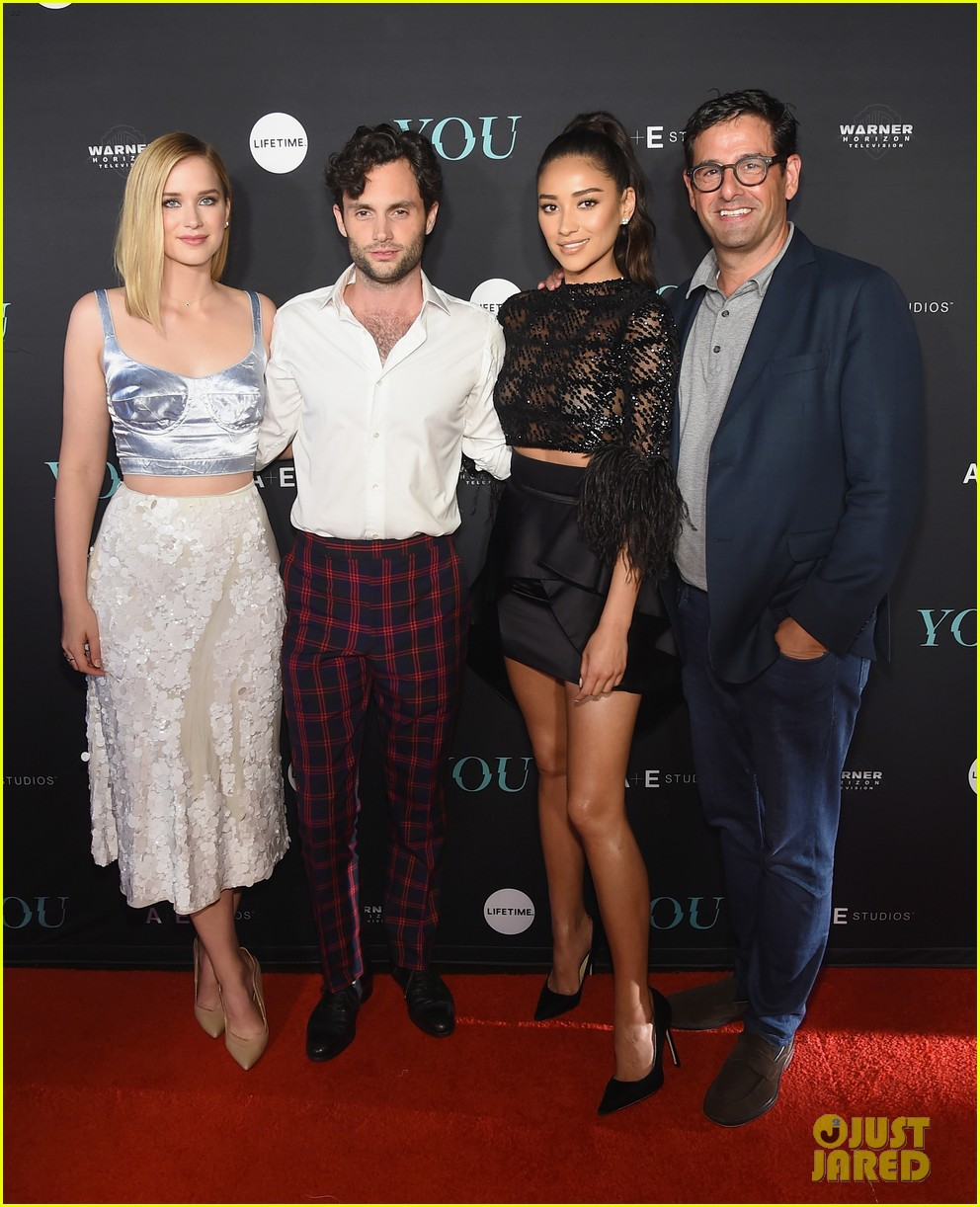 penn badgley elizabeth lail and shay mitchell look stylish at you series premiere 25