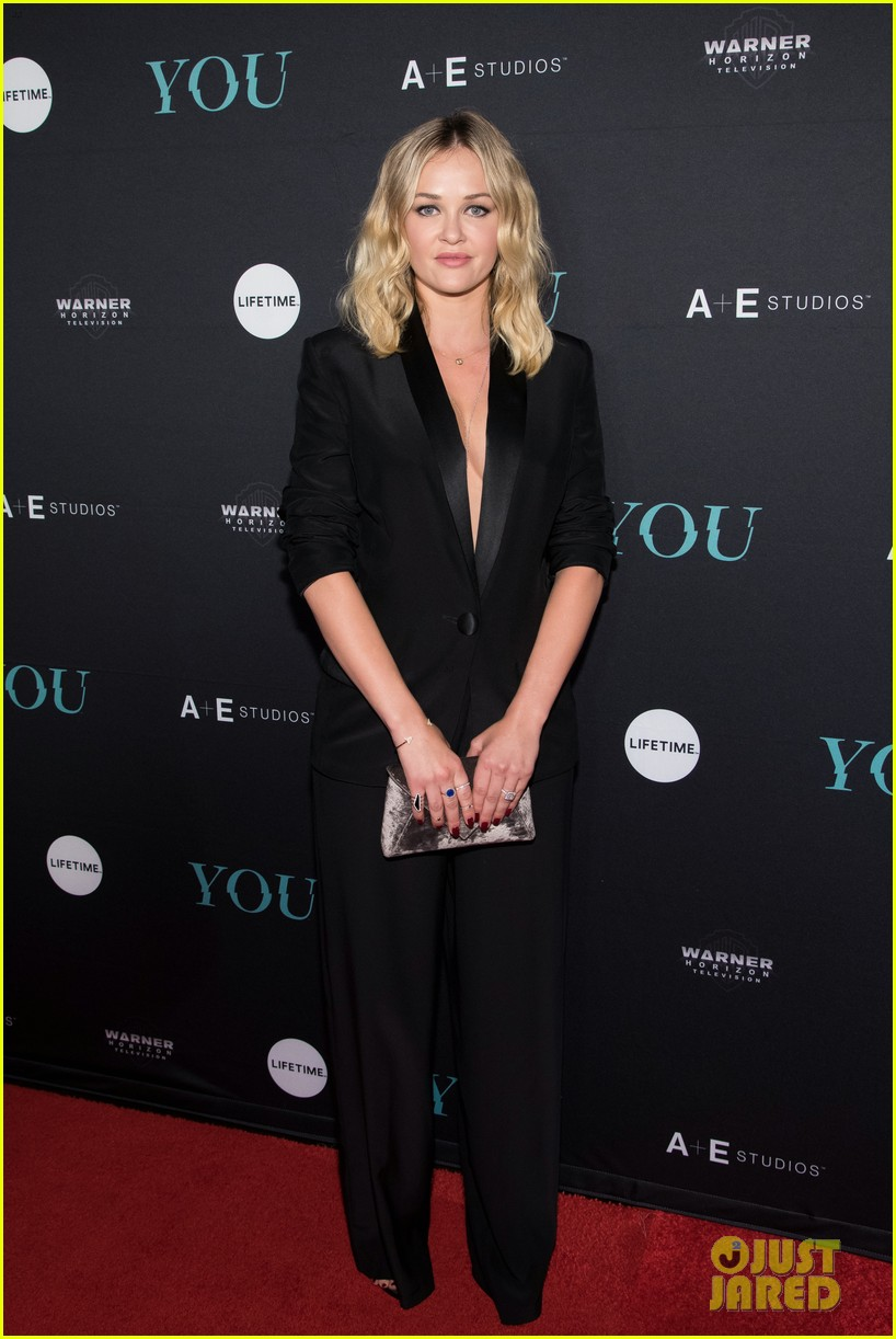 penn badgley elizabeth lail and shay mitchell look stylish at you series premiere 43