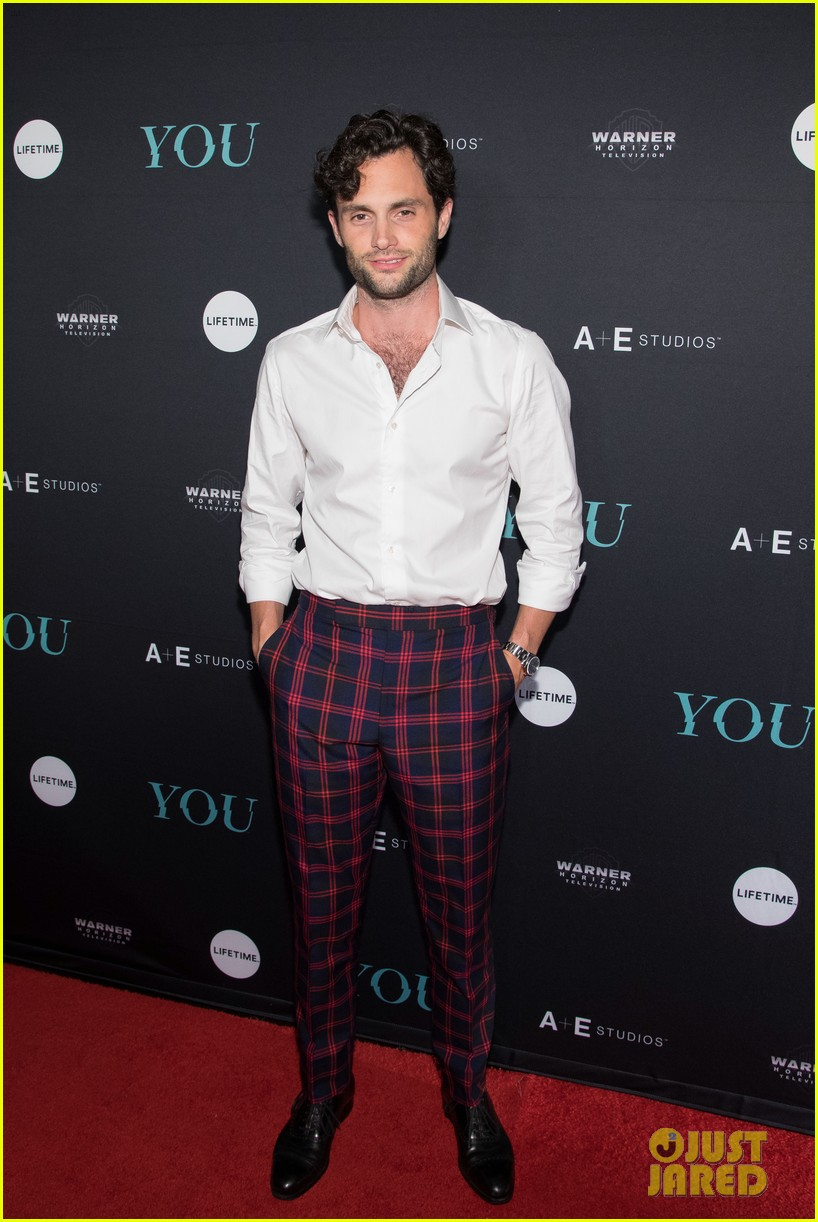 penn badgley elizabeth lail and shay mitchell look stylish at you series premiere 46