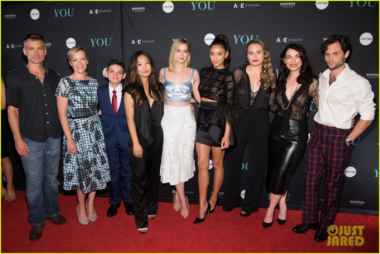penn badgley elizabeth lail and shay mitchell look stylish at you series premiere 50
