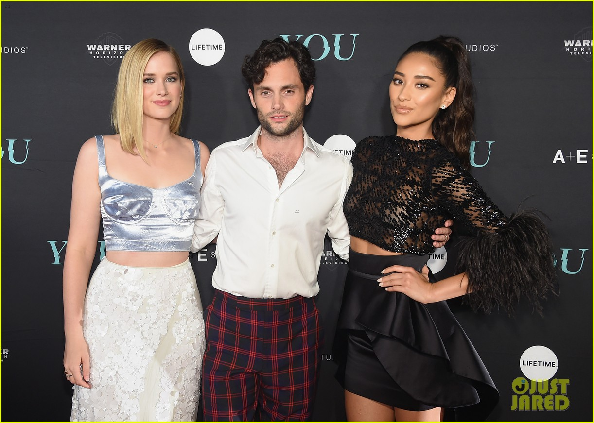 penn badgley elizabeth lail and shay mitchell look stylish at you series premiere 55