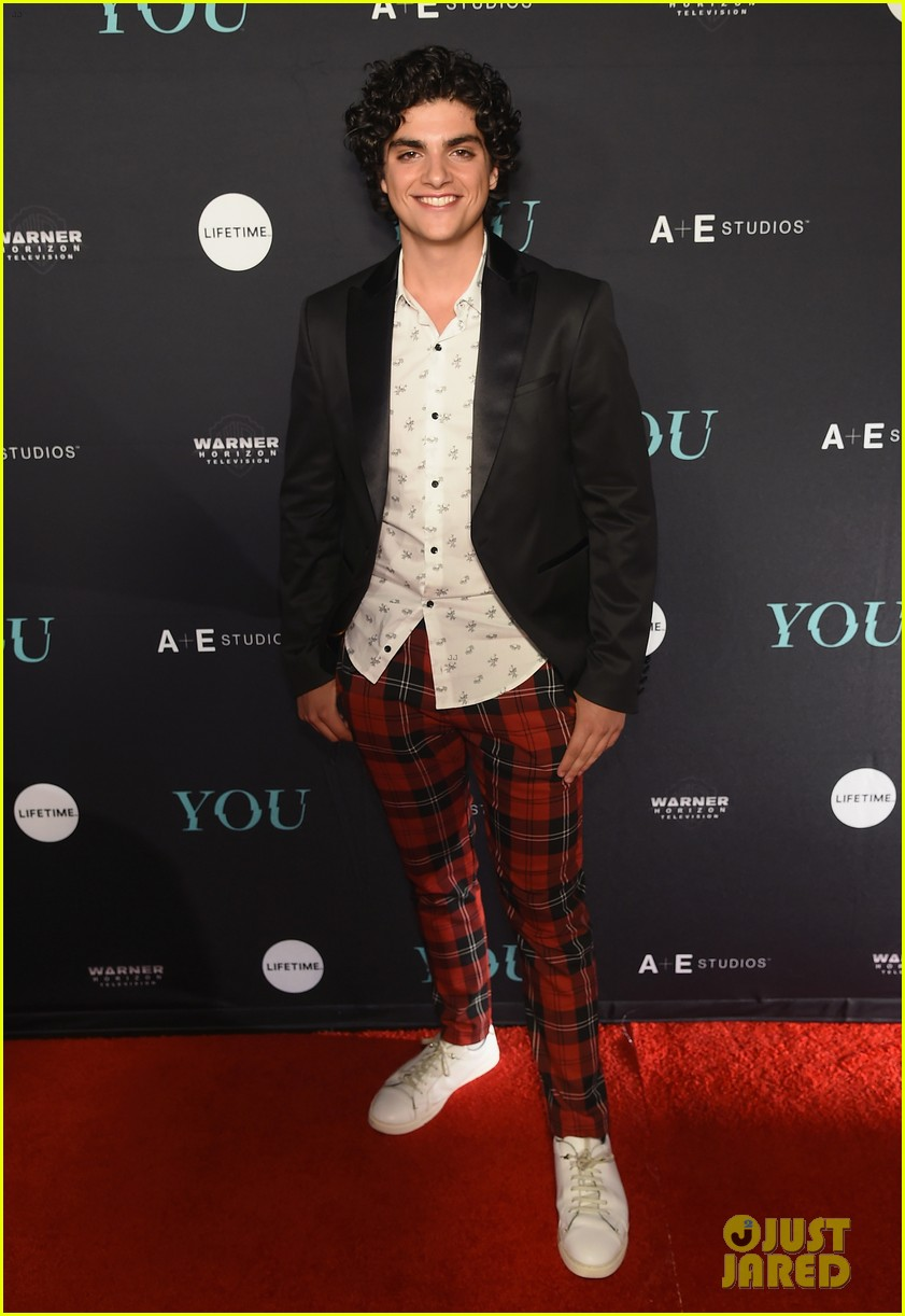 penn badgley elizabeth lail and shay mitchell look stylish at you series premiere 58
