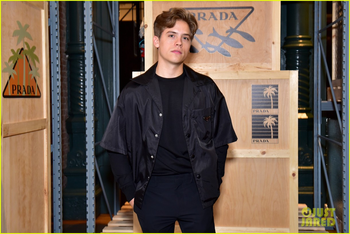dylan sprouse barbara palvin couple up prada linea rossa launch 17