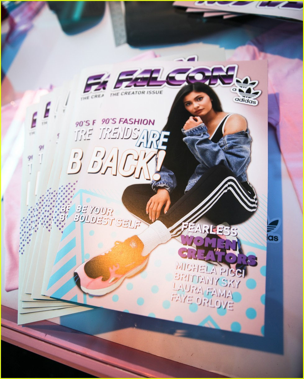 kylie jenner and adidas originals launch falcon sneaker at 90s themed pop up 09
