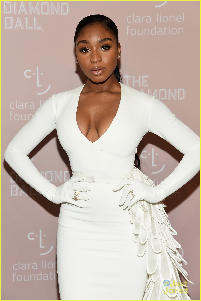 normani white sleeved gown diamond ball 02
