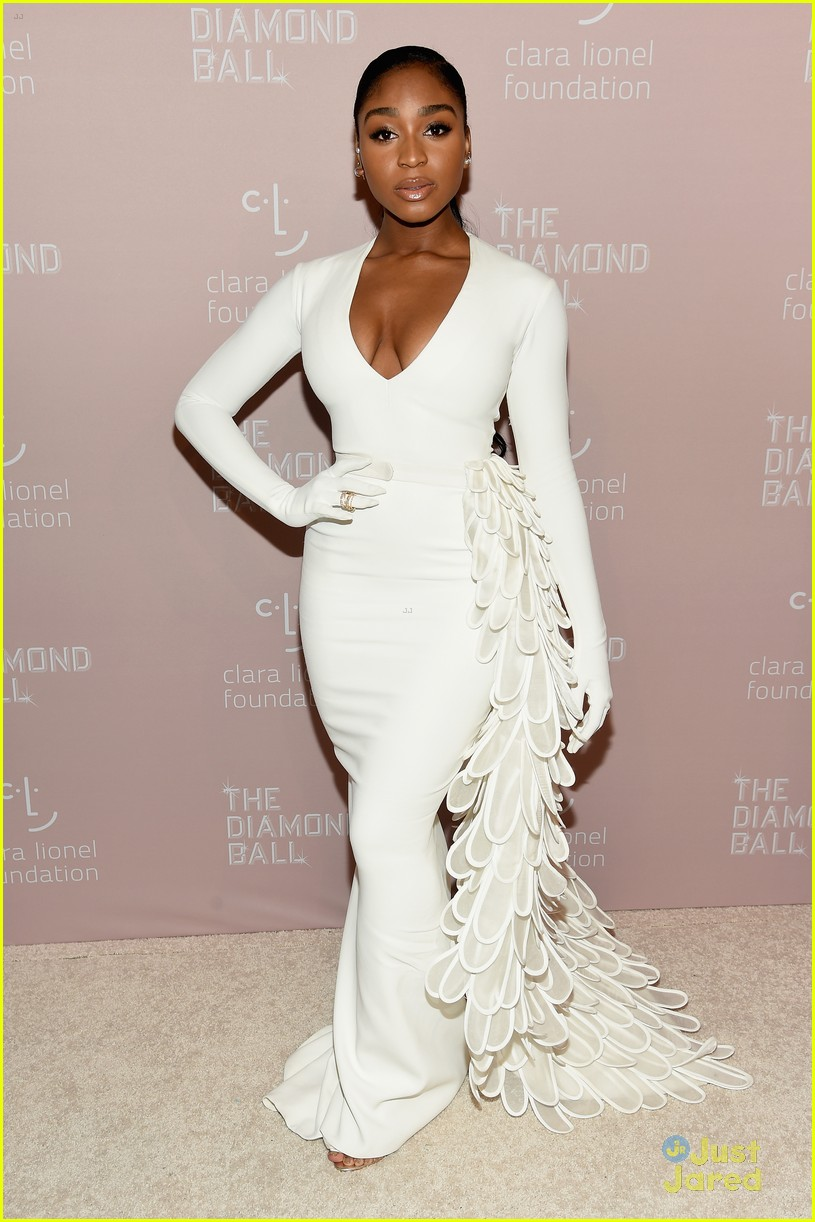normani white sleeved gown diamond ball 04