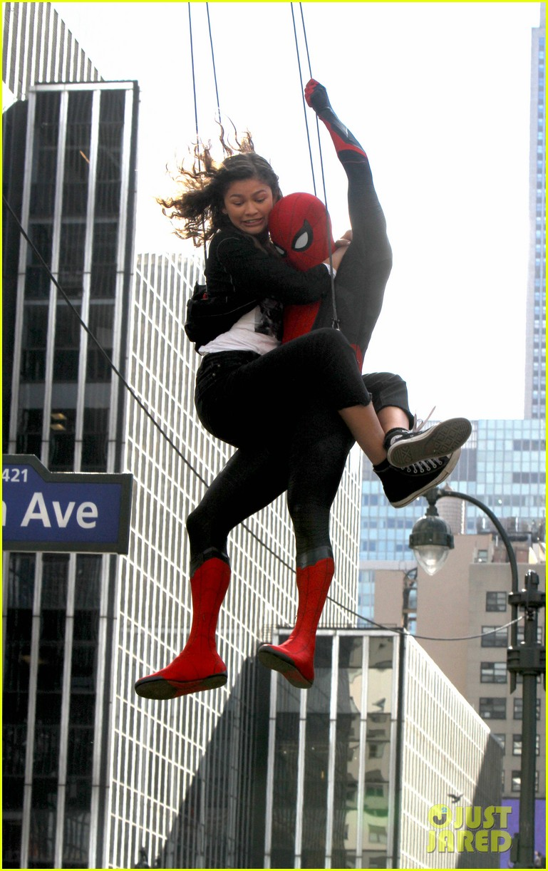 tom holland dons spider man far from home costume while filming with zendaya in nyc202