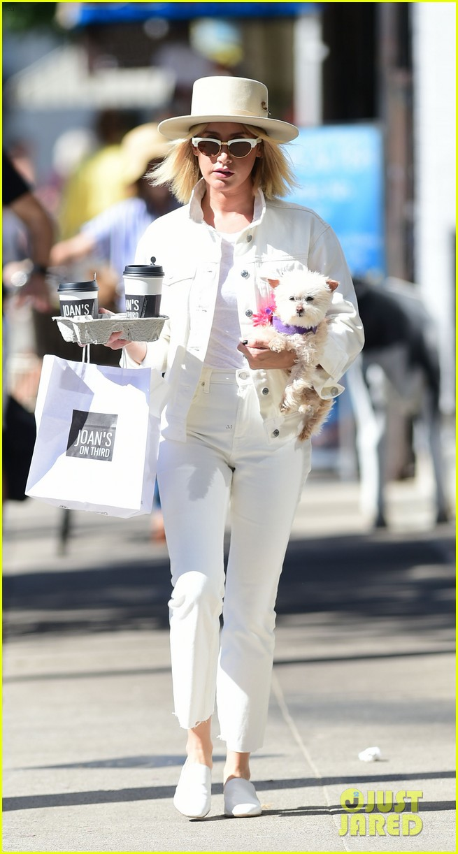 ashley tisdale wears all white while running errands with her pup 01