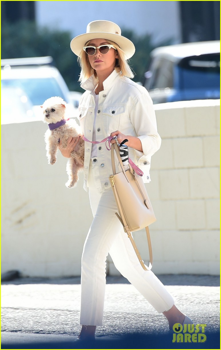 ashley tisdale wears all white while running errands with her pup 03