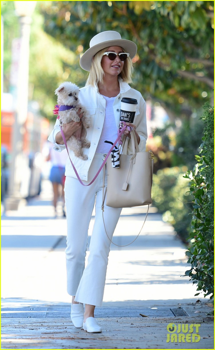 ashley tisdale wears all white while running errands with her pup 04