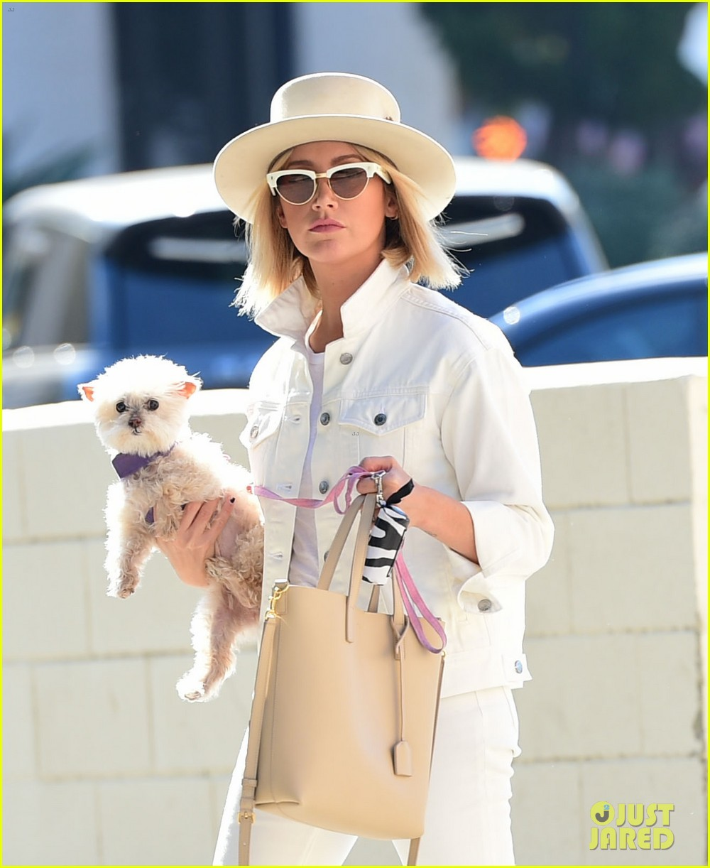 ashley tisdale wears all white while running errands with her pup 06