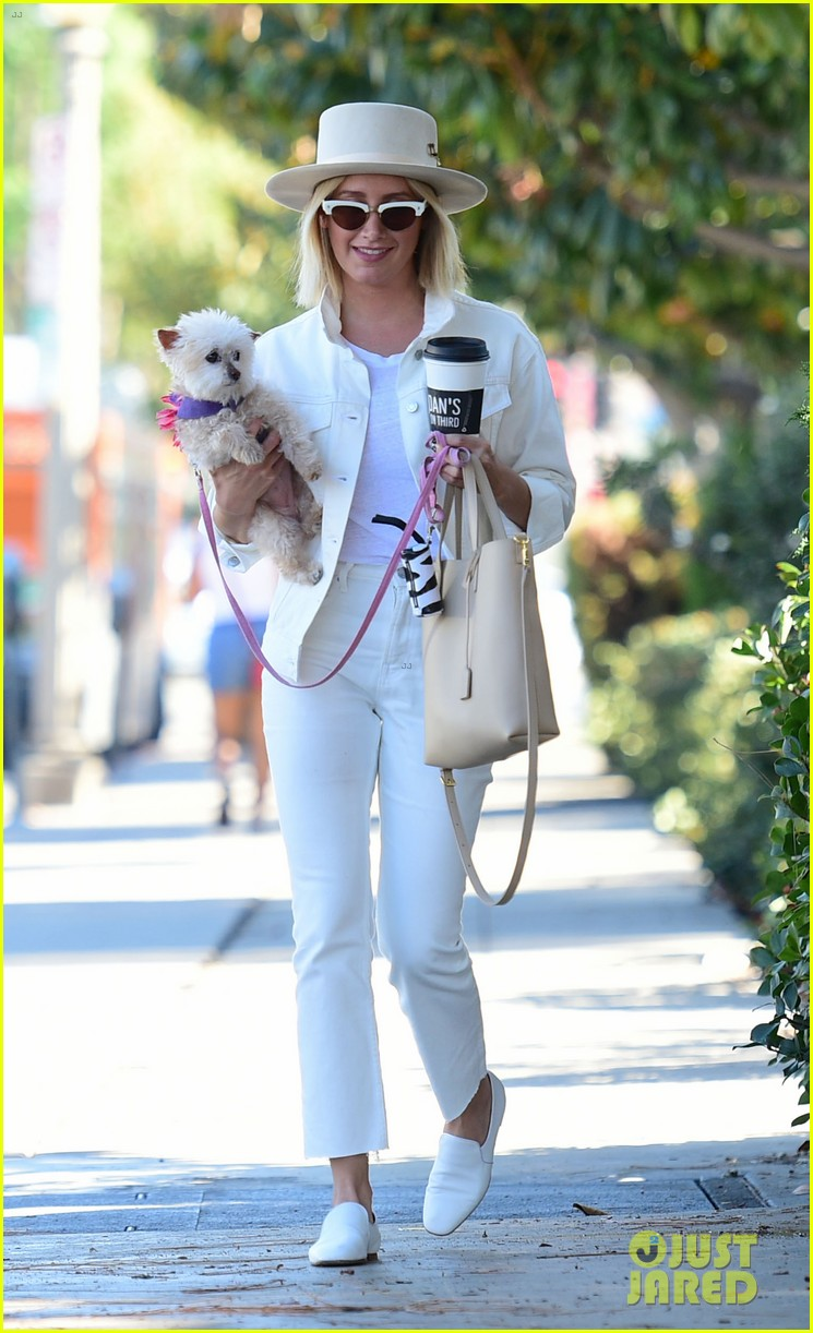 ashley tisdale wears all white while running errands with her pup 07
