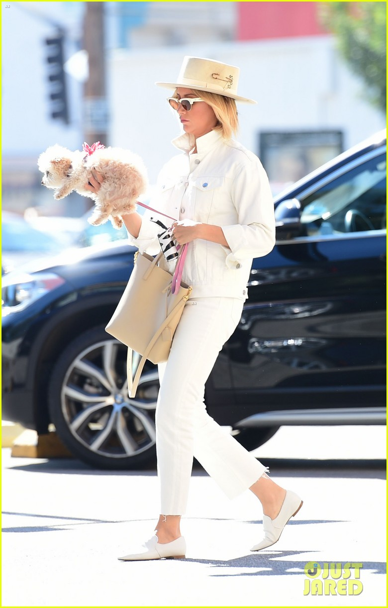 ashley tisdale wears all white while running errands with her pup 08