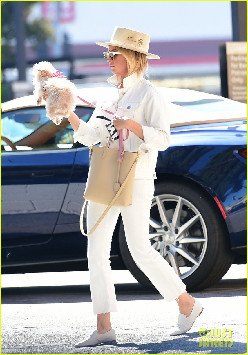 ashley tisdale wears all white while running errands with her pup 09