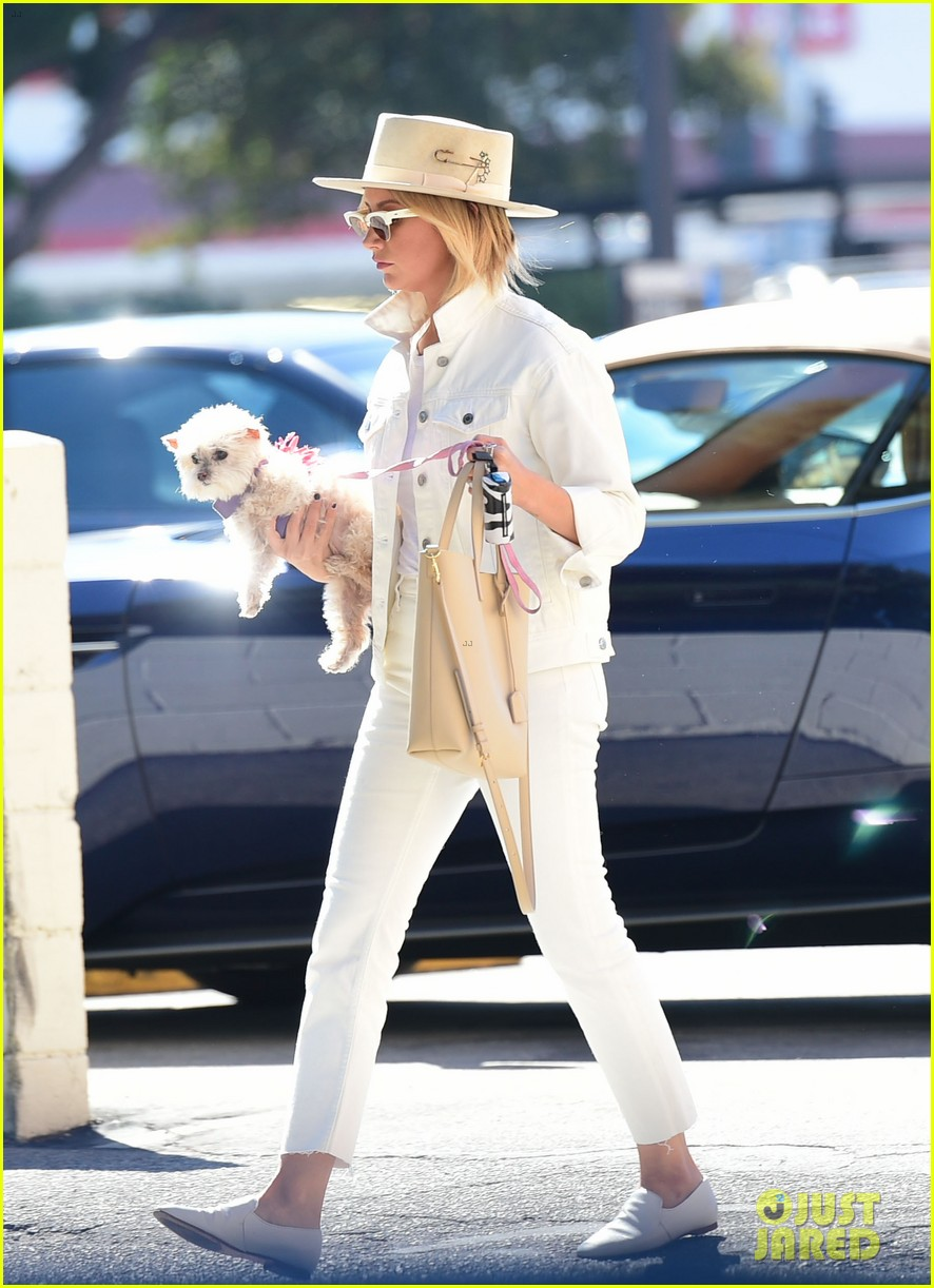ashley tisdale wears all white while running errands with her pup 10