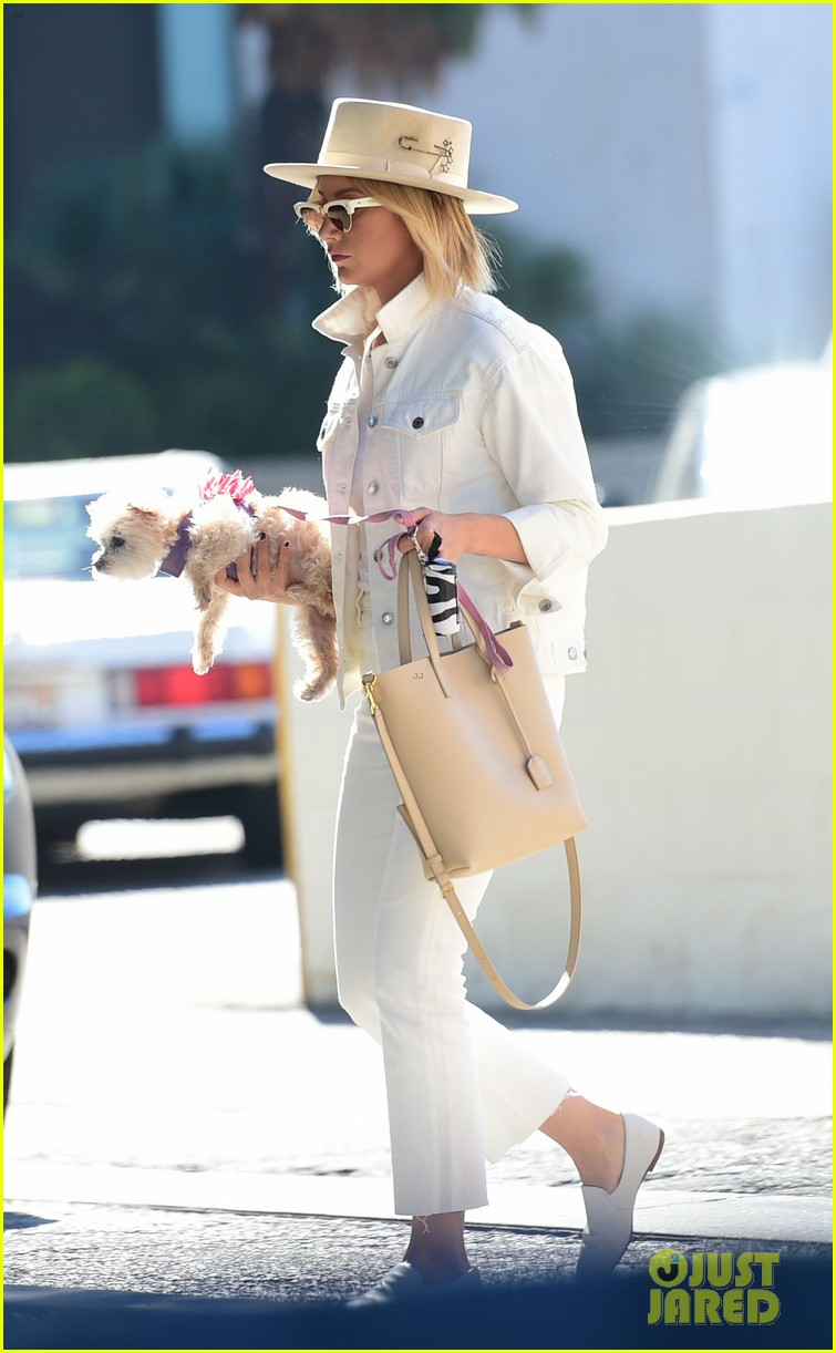 ashley tisdale wears all white while running errands with her pup 11