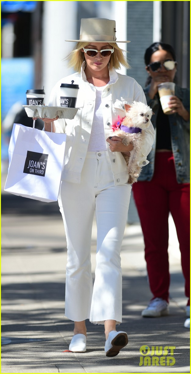 ashley tisdale wears all white while running errands with her pup 14