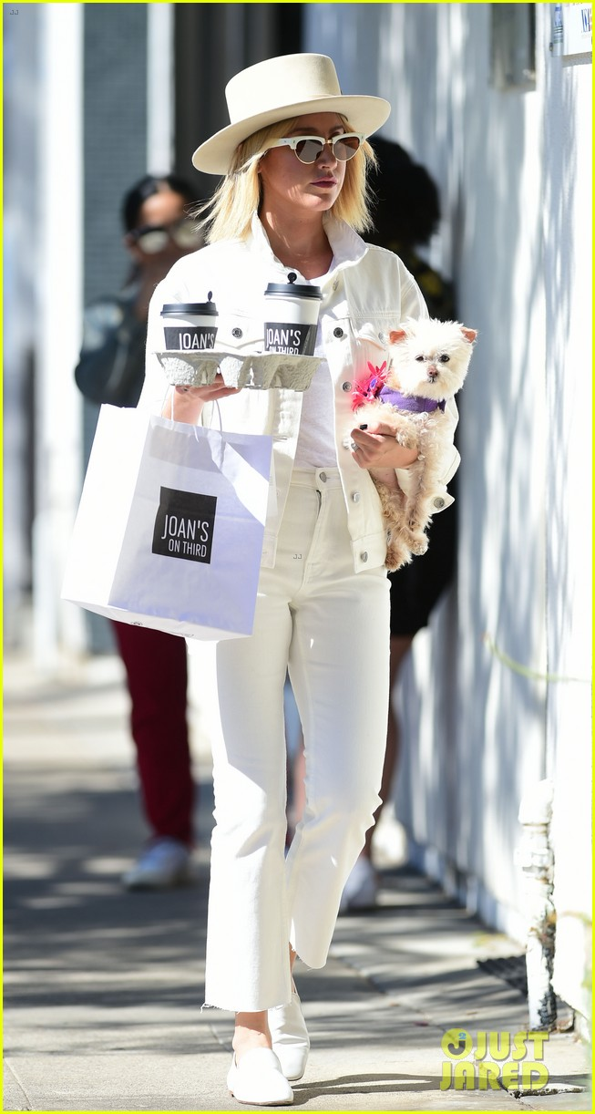 ashley tisdale wears all white while running errands with her pup 15