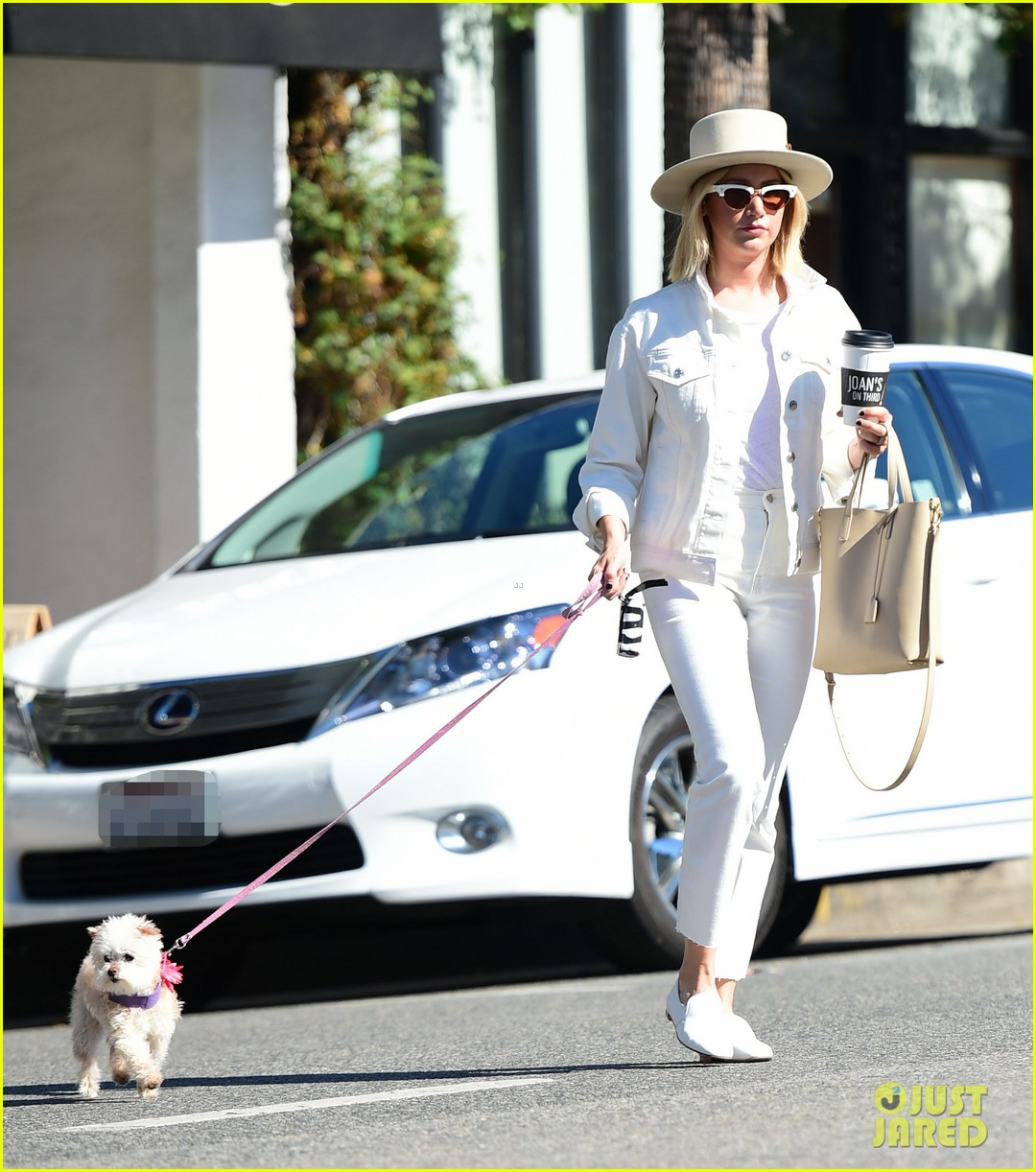ashley tisdale wears all white while running errands with her pup 16