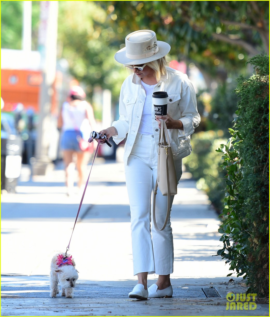 ashley tisdale wears all white while running errands with her pup 17