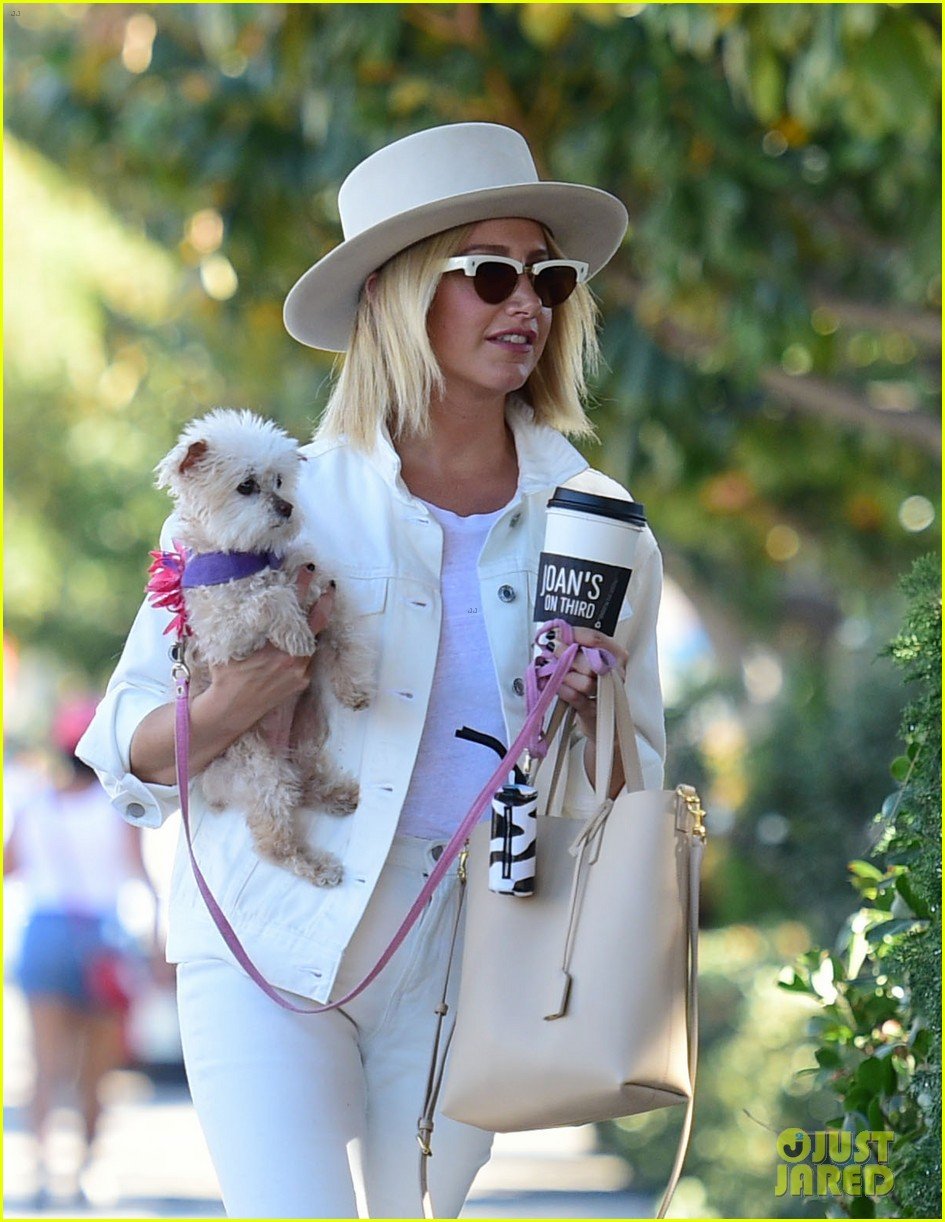 ashley tisdale wears all white while running errands with her pup 19