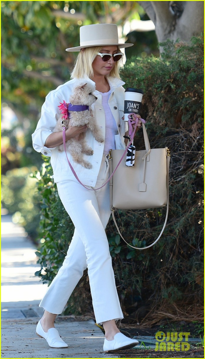 ashley tisdale wears all white while running errands with her pup 20