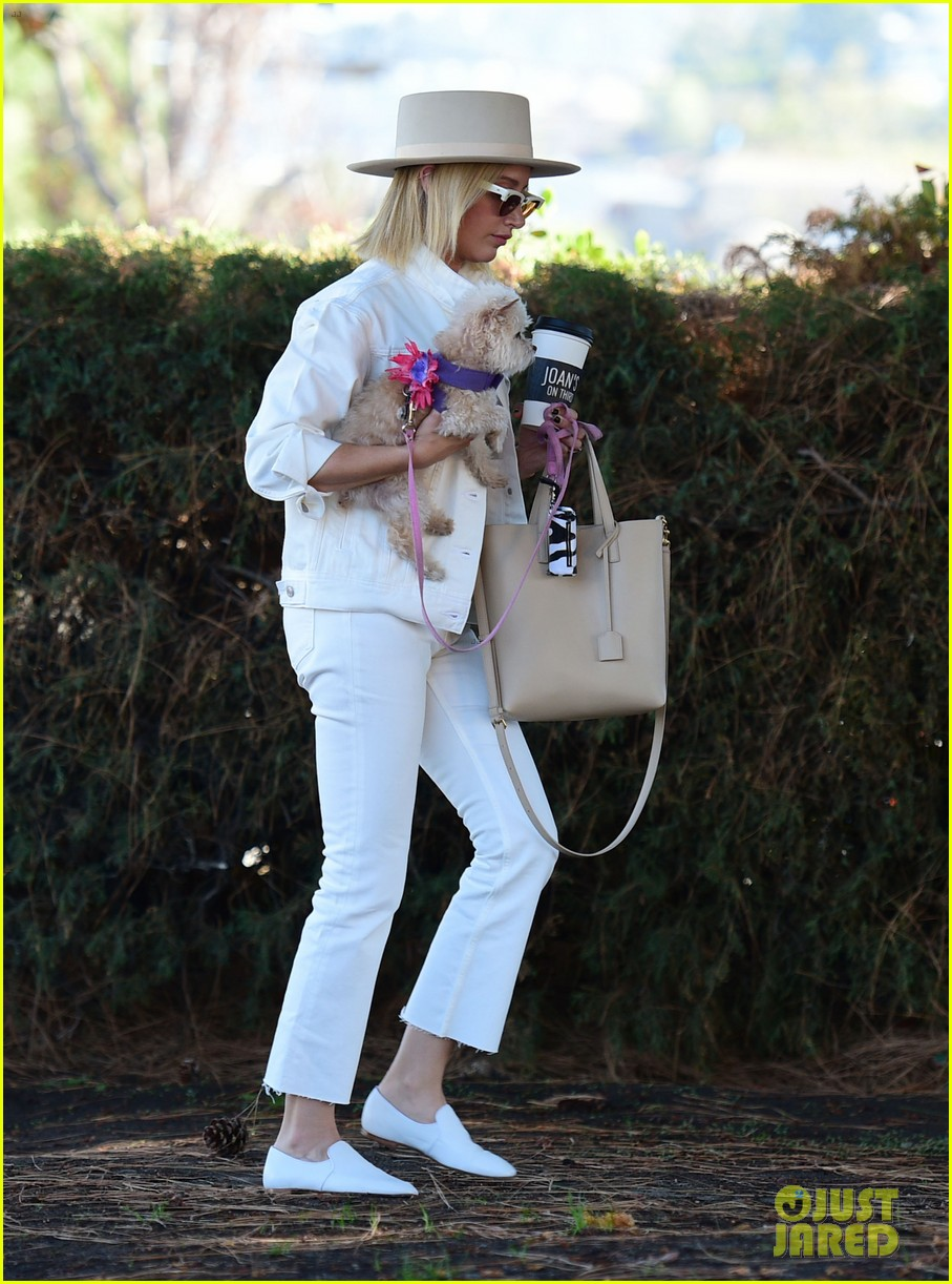 ashley tisdale wears all white while running errands with her pup 21