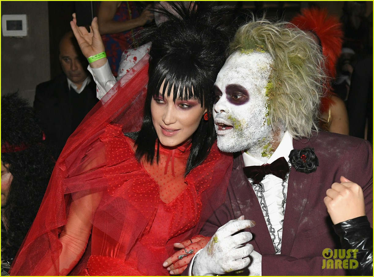 bella hadid & the weeknd dress up as 'beetlejuice' characters for