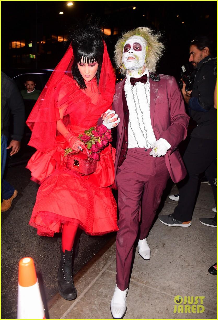 Bella Hadid The Weeknd Dress Up As Beetlejuice Characters For Halloween Photo 1196651 2018 Halloween Bella Hadid The Weeknd Pictures Just Jared Jr
