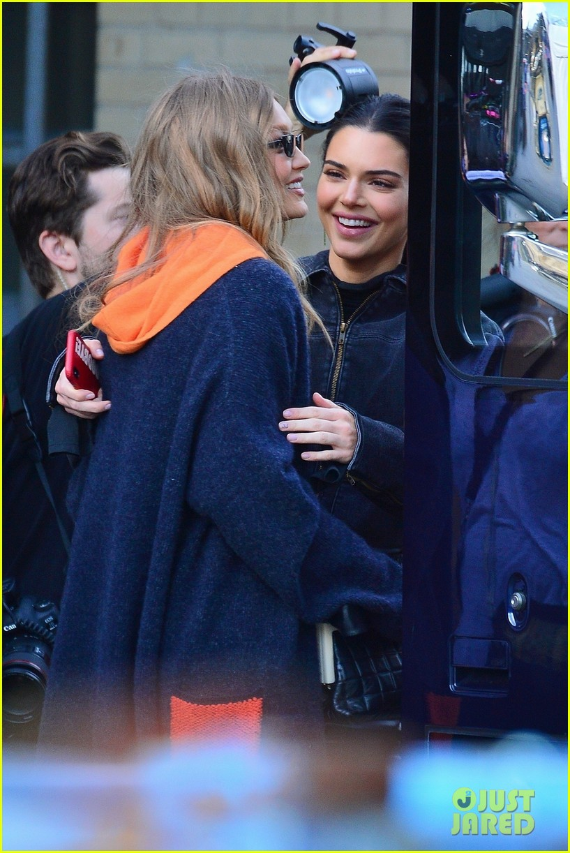gigi hadid and kendall jenner share a hug outside of victorias secret fashion show rehearsals 01