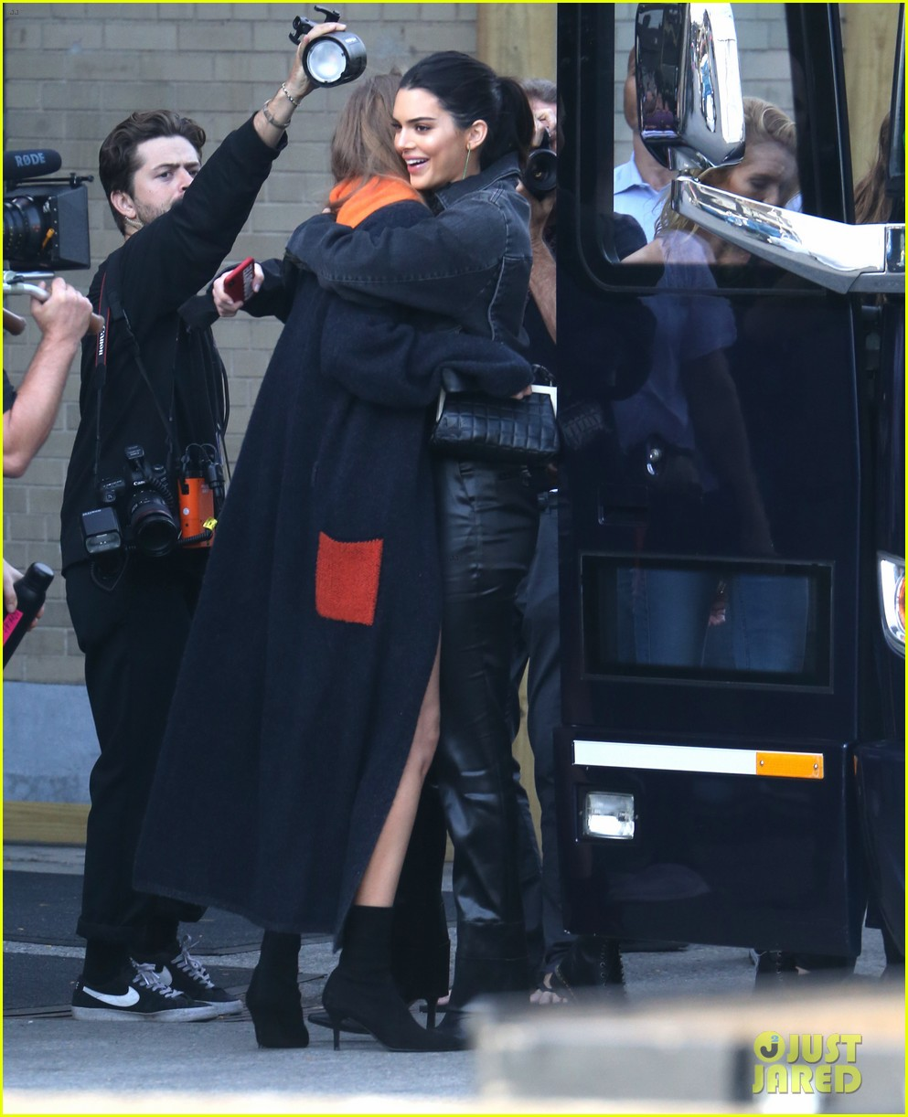 gigi hadid and kendall jenner share a hug outside of victorias secret fashion show rehearsals 03