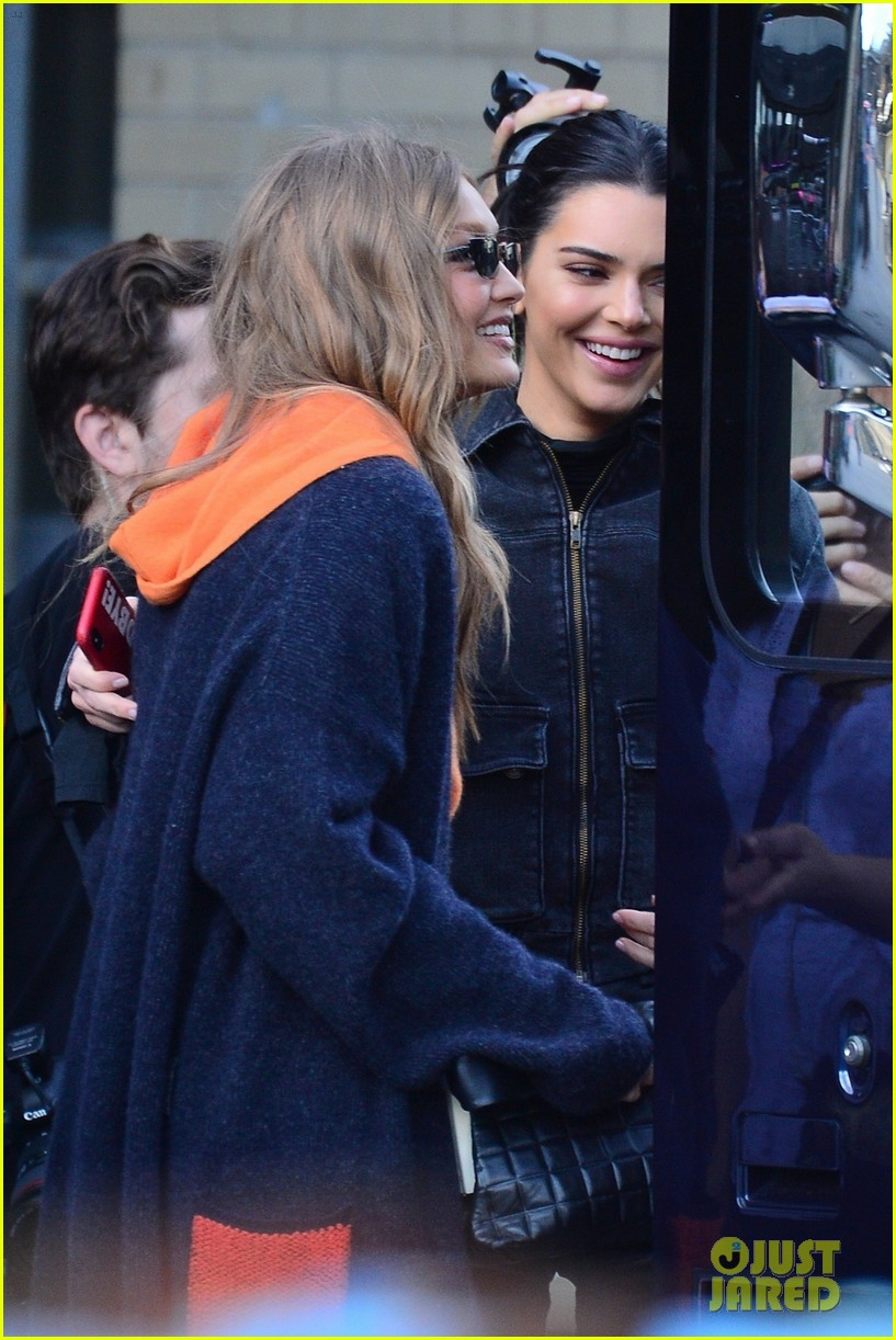 gigi hadid and kendall jenner share a hug outside of victorias secret fashion show rehearsals 05