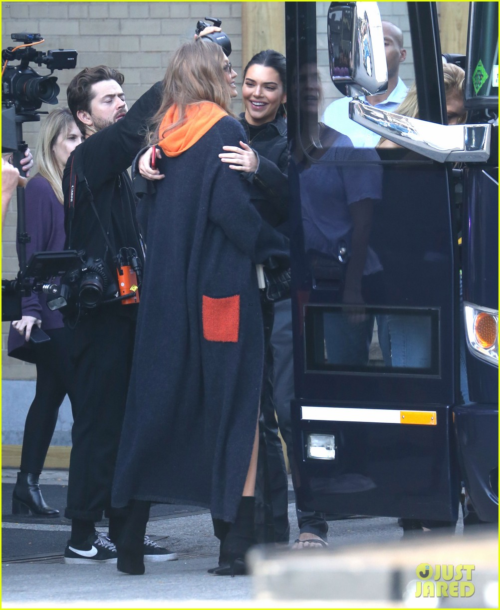 gigi hadid and kendall jenner share a hug outside of victorias secret fashion show rehearsals 08