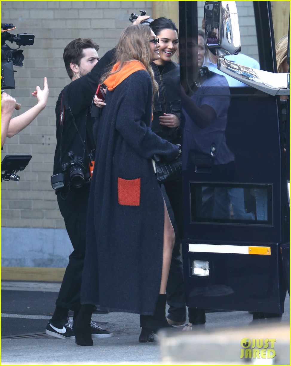 gigi hadid and kendall jenner share a hug outside of victorias secret fashion show rehearsals 09