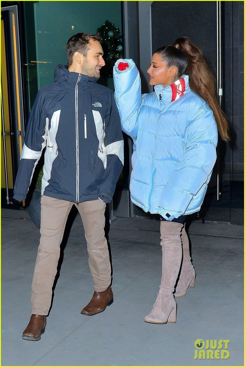 ariana grande and former broadway co star aaron simon gross hang out in nyc 01