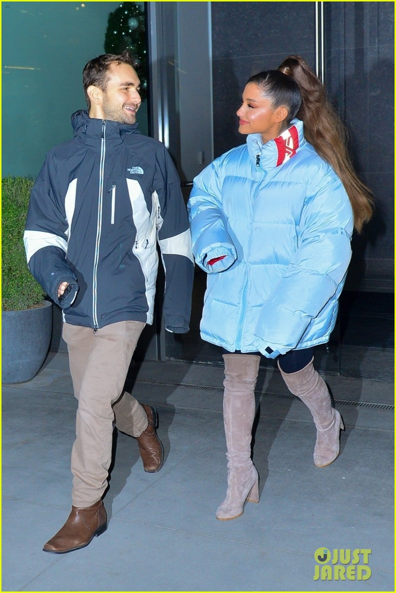 ariana grande and former broadway co star aaron simon gross hang out in nyc 03