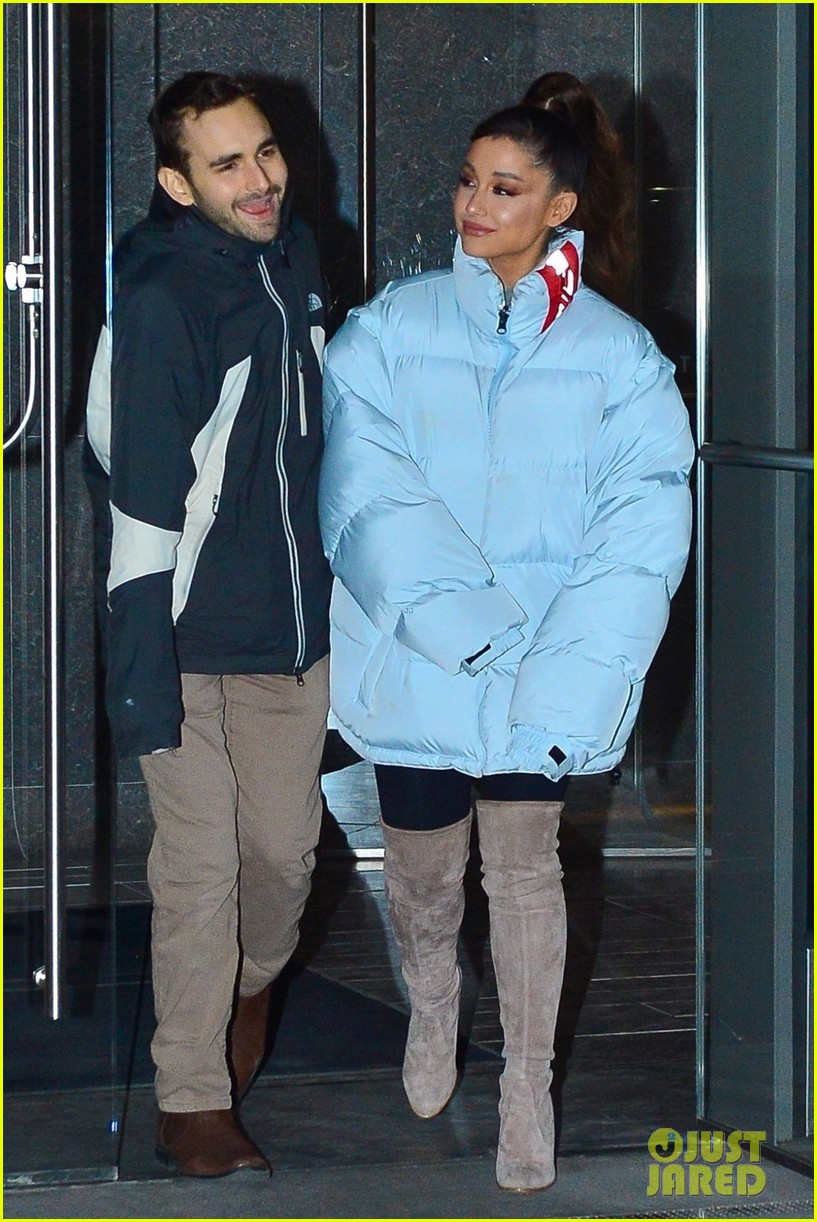 ariana grande and former broadway co star aaron simon gross hang out in nyc 04