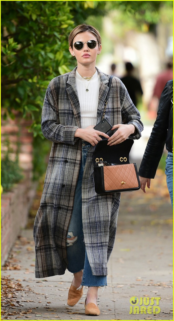 lucy hale looks chic in long checked coat while out to lunch 06