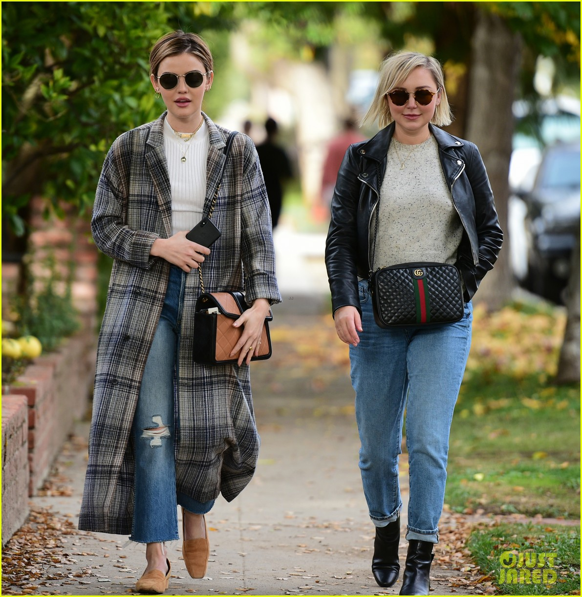 lucy hale looks chic in long checked coat while out to lunch 12