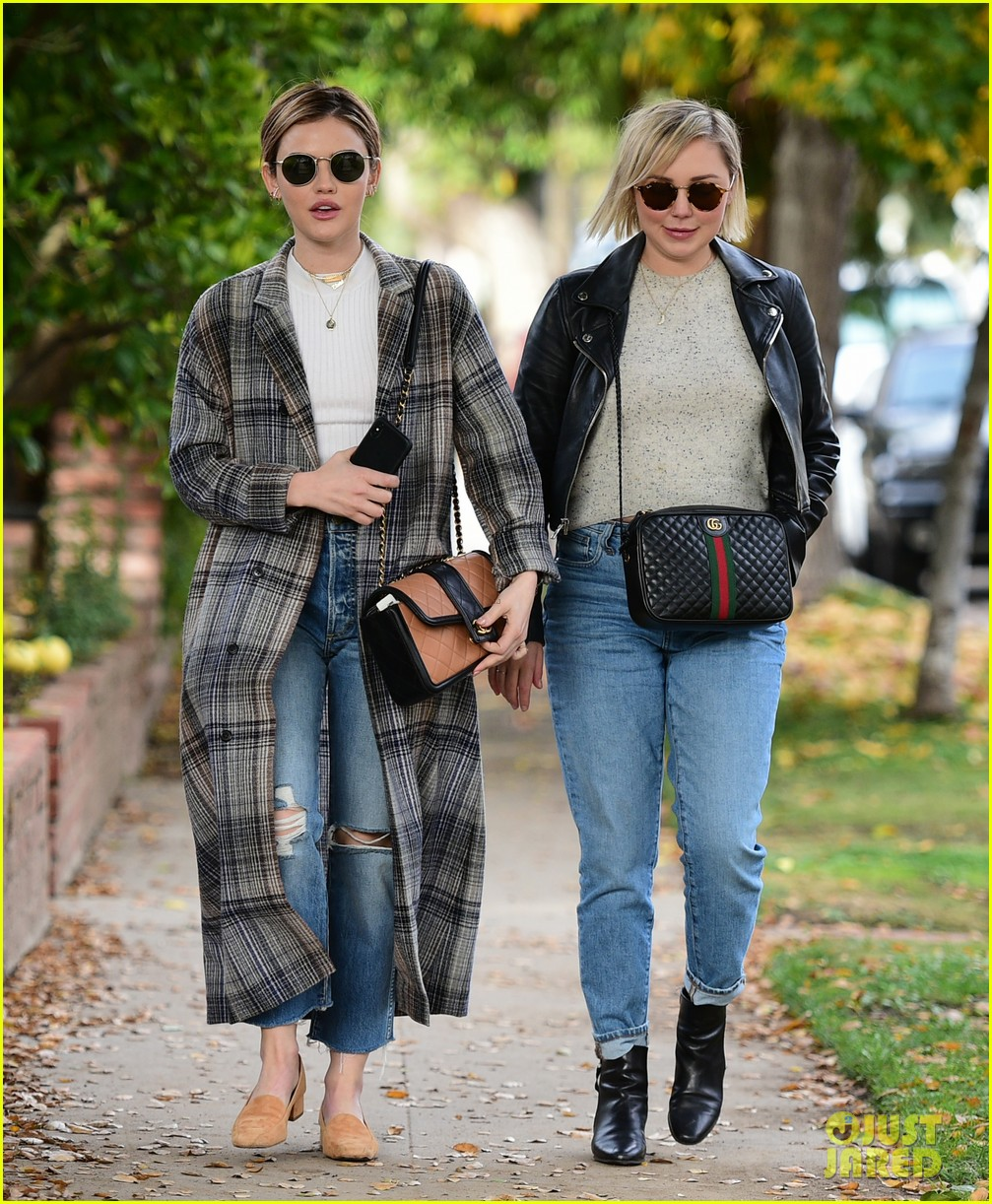 lucy hale looks chic in long checked coat while out to lunch 14